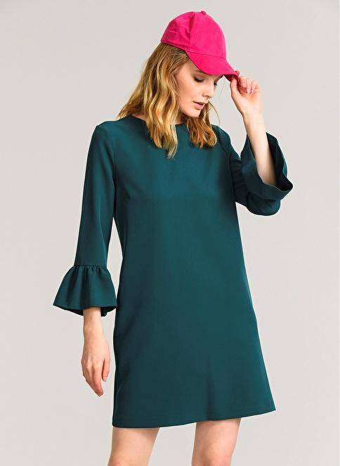 Agenda Kolu Volanlı Elbise Yeşil
